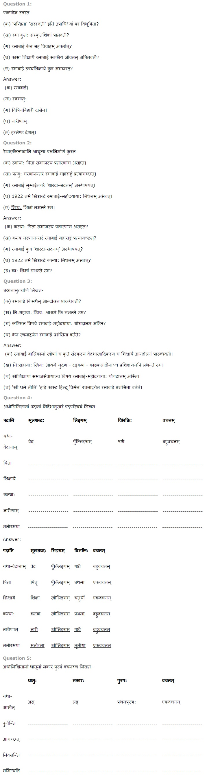NCERT Solutions for Class 7th Sanskrit Chapter 5 - पण्डिता रमाबाई