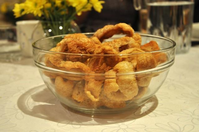 A bowl of chicharon