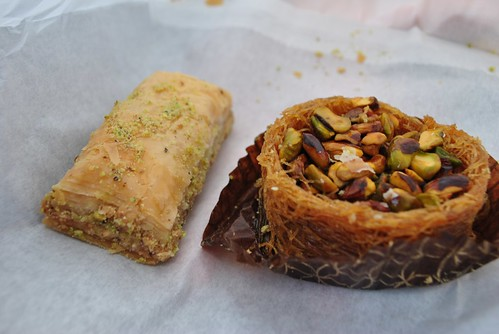 London - Baklava - our two choices.  Yay on the left, nay on the right