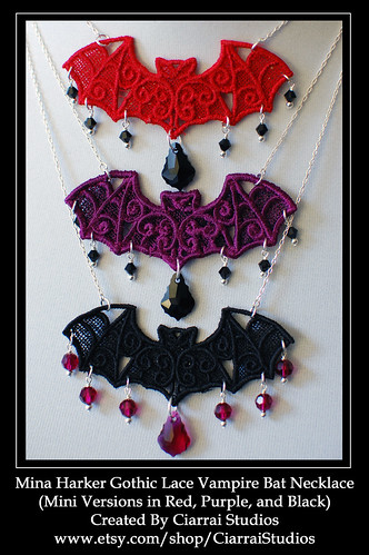 Mini Mina Harkers Gothic Lace Vampire Bat Necklaces