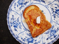 French toast, double cream, maple syrup