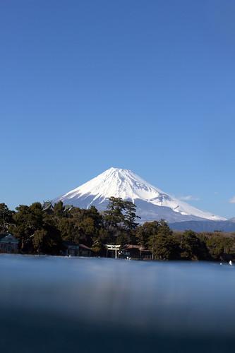 水中から富士山