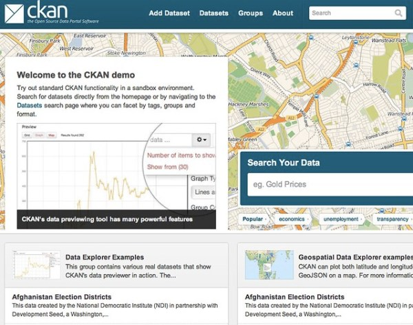 Screenshot from CKAN demo site
