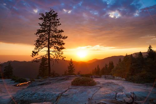 Beetle Rock Sunset #3 (Circle Flare), Sequoia National Park