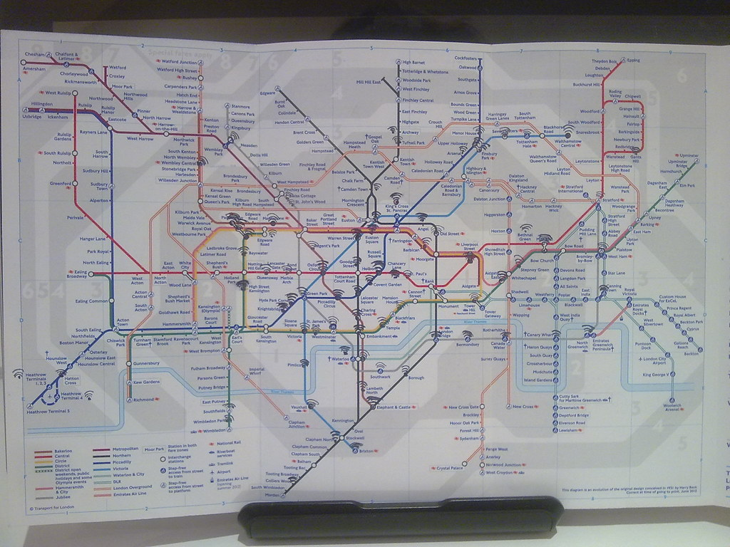 London underground map with Virgin's WiFi hotspots
