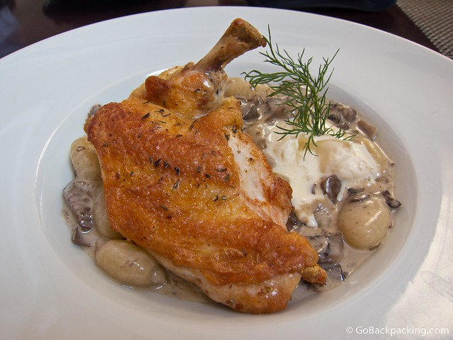 Young breast of chicken with corn, potato dumplings, and mushroom ragout in cream and semi-sweet South Moravian wine