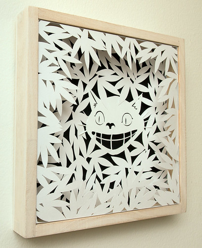 Paper cut work: Cheshire Cat