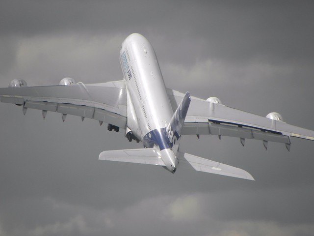 An Airbus A380 Superjumbo takes off