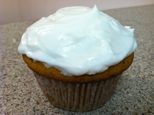 Pumpkin spice cupcake with cream cheese frosting