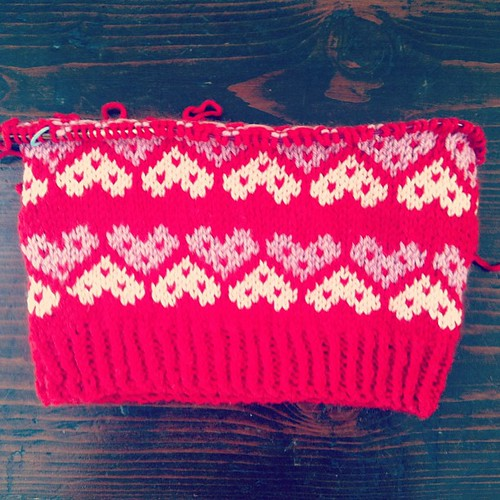 """Not your valentine"" fair isle hat, day 2 progress :)"