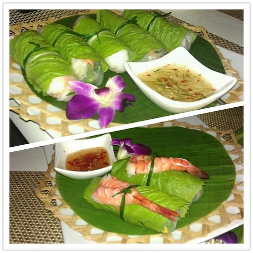 Vegetarian and Prawn Fresh Rolls @ Thai Bistro