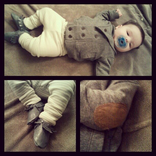 Professor baby sweater & the handmade shoes in action!