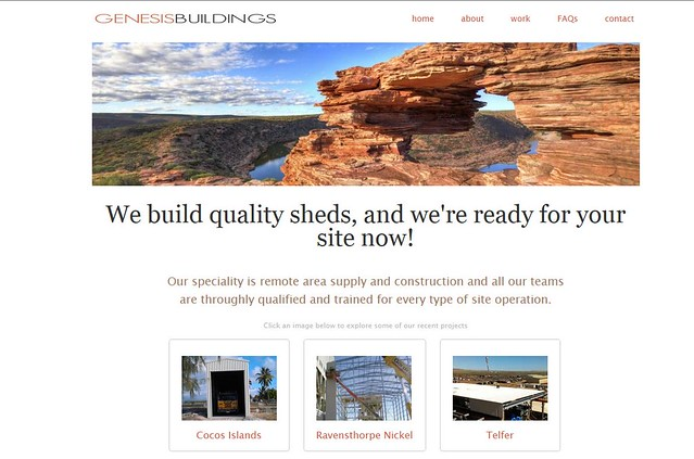 My natures window image used in the banner for a outback construction company...