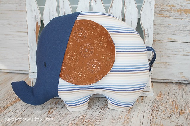 eco-friendly stuffed elephant made from reclaimed fabrics