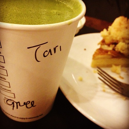 New fave couple for late night company: hot #milkgreentea and hot #applepie. #sweettooth #starbucksnomad #butcoffee #norecipejuststory