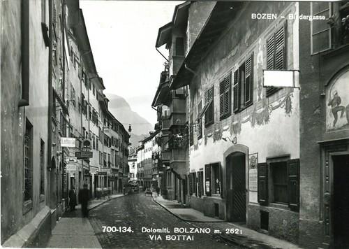 postcard - bolzano - via bottai - 1961