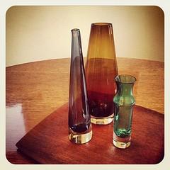 Vintage glass vases.