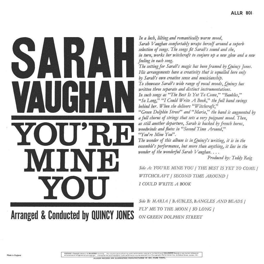 Sarah Vaughan Youre Mine You