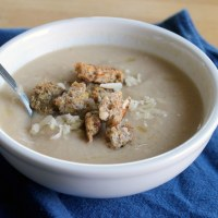 Cauliflower Soup with Aged White Cheddar and Dijon Croutons