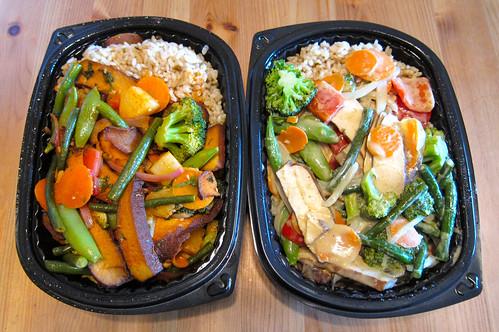 Sriracha Vegetable & Tofu ($7.50) | Thai Coconut Curry Vegetable & Tofu ($7.50)