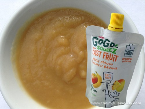 Materne GoGo Squeez Fast Fruit Apple Mango Pineapple Banana Closeup