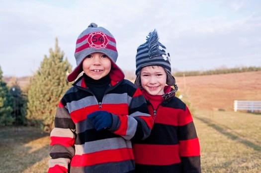 Boys at the Tree Farm