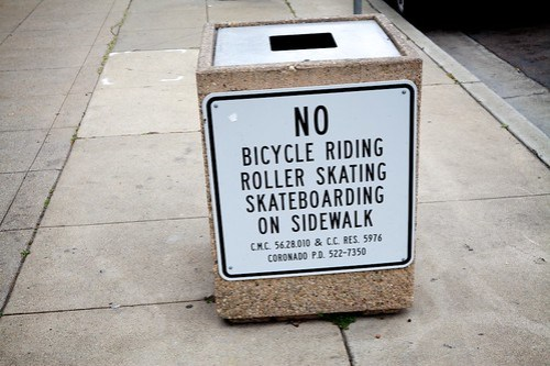 No Bike or Skate On Sidewalk Signage Example - Coronado CA