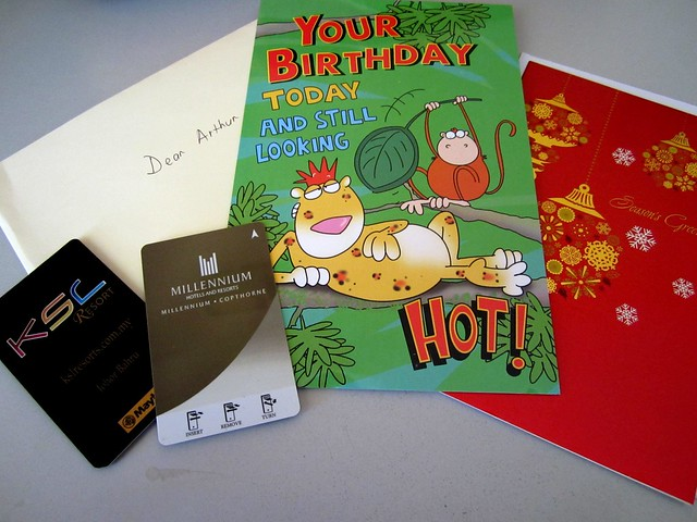Hotel key cards, birthday & Christmas cards