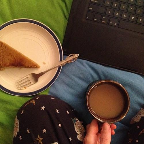 Tea, pie, pajamas, writing...in bed.