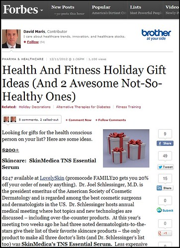 Dr. Joel Schlessinger and LovelySkin.com featured on Forbes.com