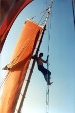 Dave Bricker in the rigging of Zebra Dun 1989