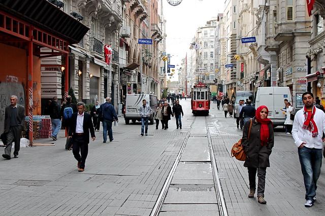 Tram on Istiklal Caddesi