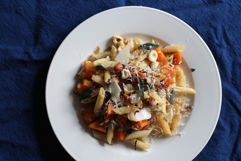 penne with roasted butternut squash and sage