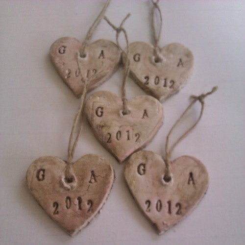 Clay hearts for the married couple to celebrate their first Christmas as husband and wife. #makingchristmasdecorations