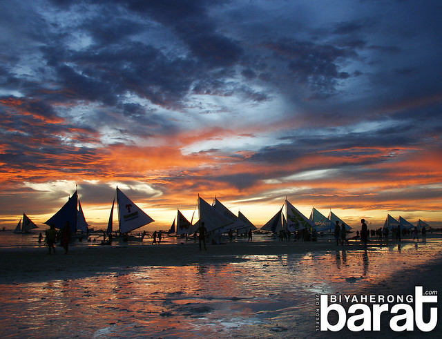 Sunset in boracay paraw sails