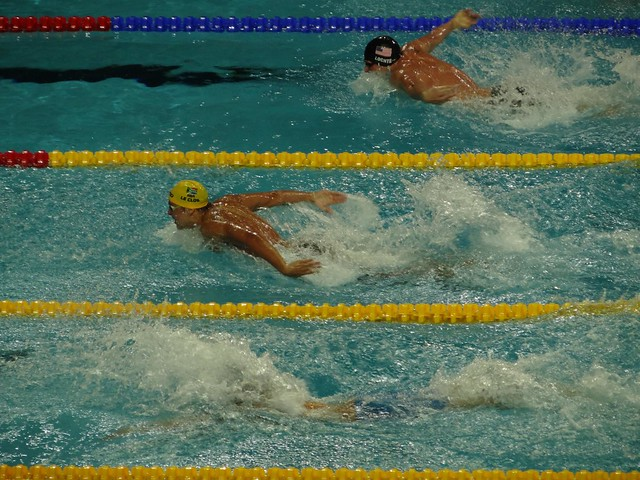 Le Clos and Lochte racing the men's 100 fly at Istanbul 2012