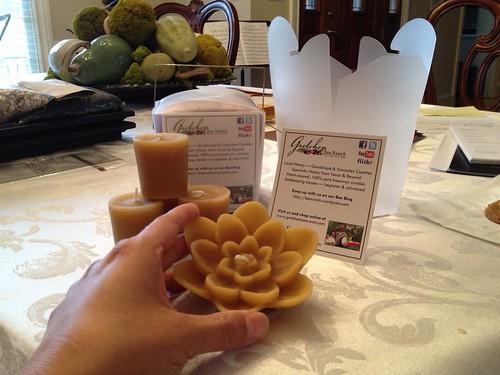 Lotus & votives in a take out box