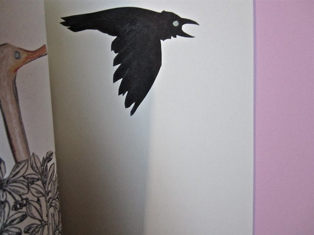 Wolf Erlbruch, L'anatra, la morte e il tulipano. edizioni e/o 2012. Grafica di W. E. e, per l'ed. it.: Emanuele Ragnisco. [pagina 22 e 23] (part.), 1