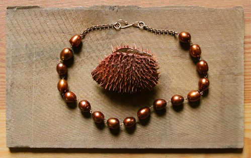 bronze pearls on a brass chain @ metal and thread by denise carbonell
