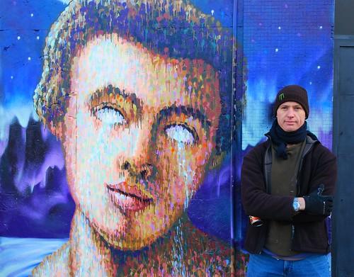 Jimmy Cochran (Jimmy C) on finishing his latest piece, Shoreditch, London, England. 4th Dec 2012.
