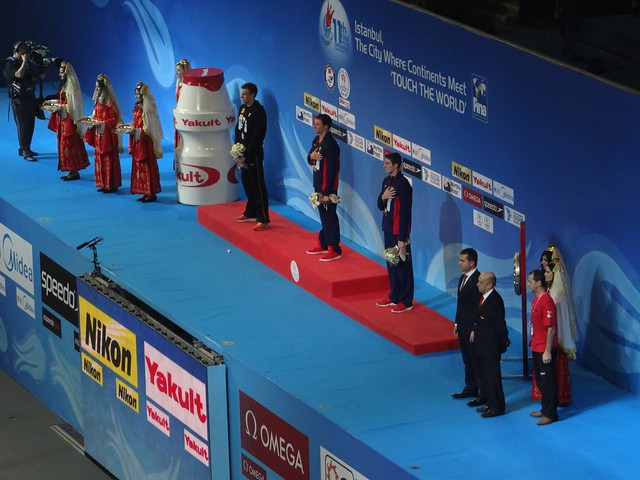 Men's 200 free podium at Istanbul 2012