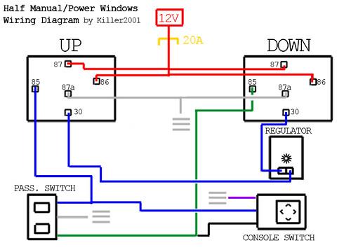 Half Manual/Power Window Wiring Diagram