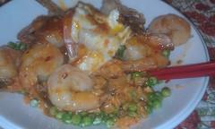 Kimchi fried rice and shrimp