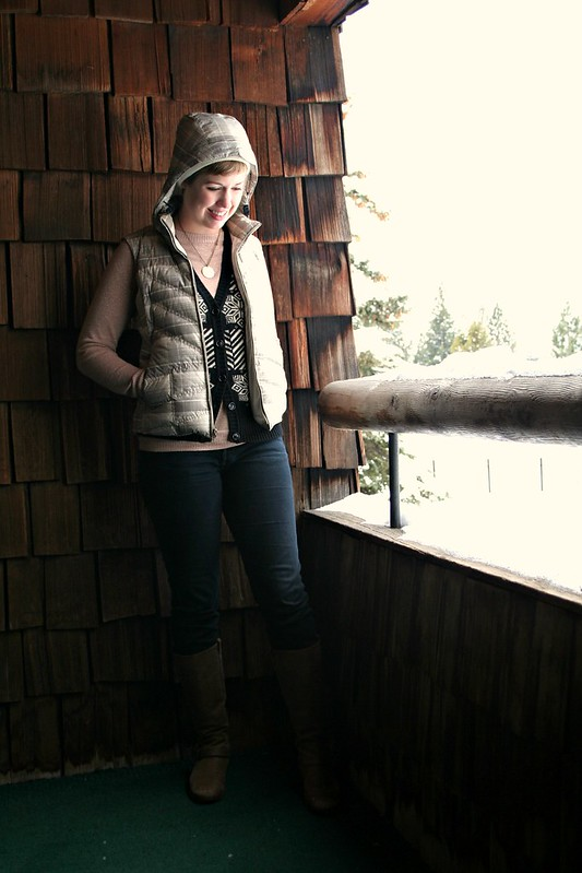 winter clothing layers, vest and sweater, fair isle sweatervest, skinny jeans and boots