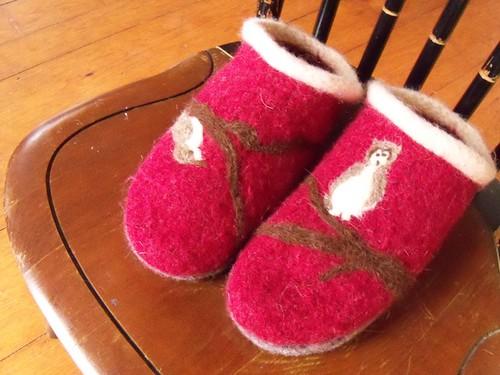 felted bird slippers