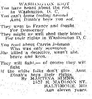 Poem Extolls African American Resistance: 1919