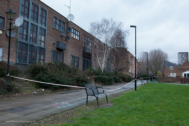The path leading from Wapping Woods to The Highway has been sectioned off by the Police forensic team the whole area is on lockdown as police search for clues