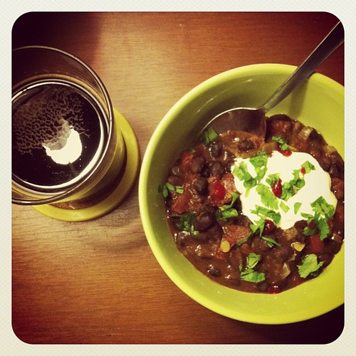 Chili and Founders Breakfast Stout. #coldweatherdindin