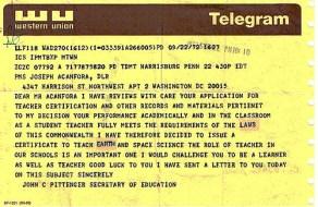 Pittenger Telegram Awarding PA Certification