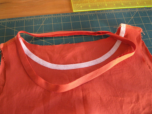 Lily dress in progress - 1.25 inch bias band, measured to size, joined, folded in half and pressed